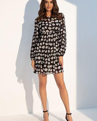 Шифоновое черное платье мини в цветочный принт Itelle