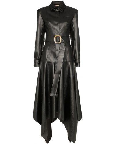 Черное кожаное пальто классическое с воротником Matériel