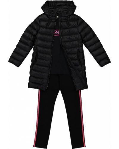 Puchaty czarny klasyczny płaszcz Moncler Enfant