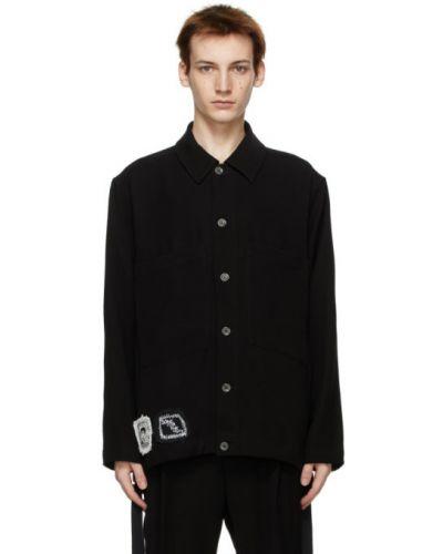 Czarna długa kurtka z haftem z długimi rękawami Song For The Mute