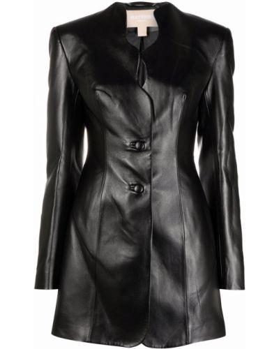 Черное кожаное пальто Matériel