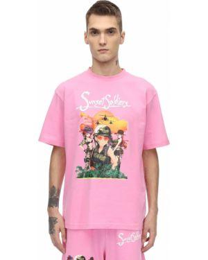 Różowy t-shirt bawełniany Sunset Soldiers