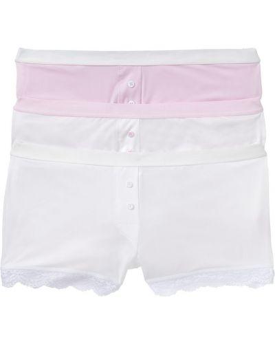 Кружевные трусы белые розовый Bonprix