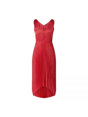 Satynowa sukienka rozkloszowana z dekoltem w serek Guess