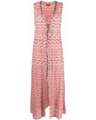 Розовое платье с нашивками без рукавов Missoni Mare