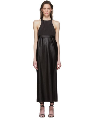Czarny sukienka prążkowany bez rękawów z kołnierzem Tibi
