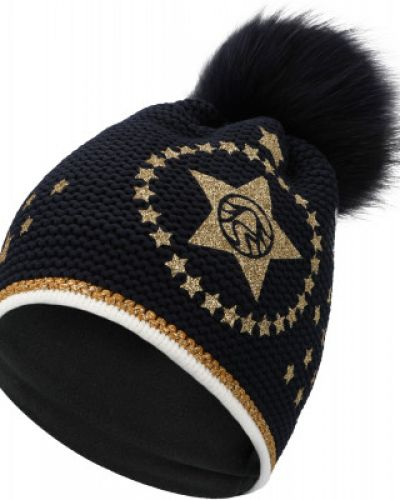 Синяя спортивная шапка с помпоном из енота Sportalm