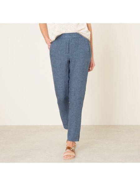 Синие брюки на резинке с карманами узкого кроя с открытым носком Diega