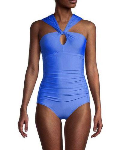 Синий купальник с вырезом на бретелях Calvin Klein