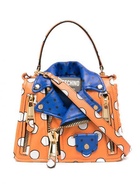 Золотистая оранжевая кожаная куртка Moschino