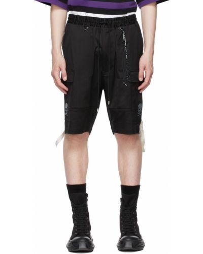 Czarne szorty cargo bawełniane z haftem Mastermind World