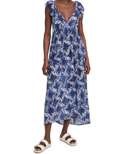 Хлопковое платье стрейч с V-образным вырезом Xírena