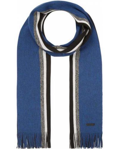 Niebieska szal wełniana w paski Boss