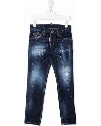 Облегающие синие джинсы-скинни на молнии Dsquared2 Kids