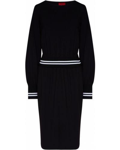 Черное платье миди на резинке свободного кроя с вырезом Hugo Boss