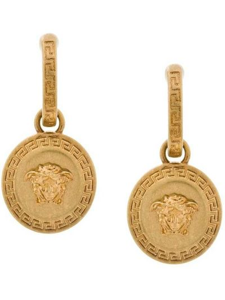 Kolczyki ze sztyftem metal okrągły złoto z wisiorkami Versace