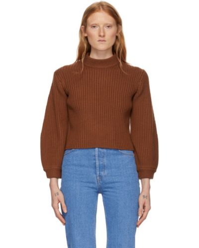 Brązowy wełniany z rękawami sweter z mankietami Tibi