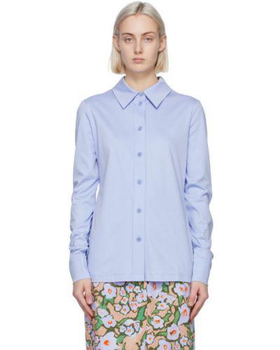 Хлопковая синяя рубашка с длинными рукавами Sportmax