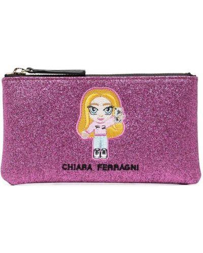 Розовая ключница с вышивкой Chiara Ferragni