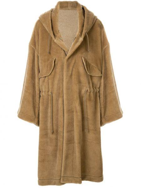 Beżowy płaszcz wełniany z kapturem Undercover