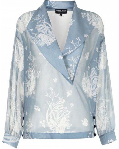Шелковая синяя рубашка свободного кроя Giorgio Armani