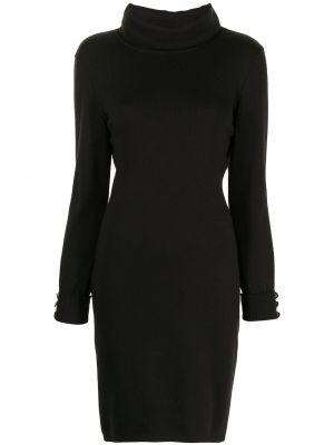 Вязаное трикотажное черное платье макси Chanel Pre-owned