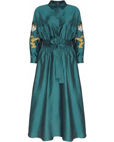 Шелковое платье миди - зеленое Alena Akhmadullina