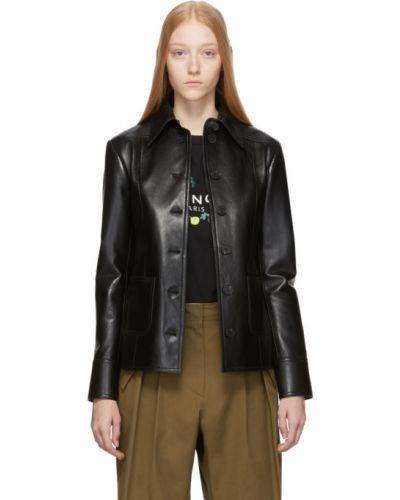 Puchaty czarny długa kurtka prążkowany z długimi rękawami Givenchy