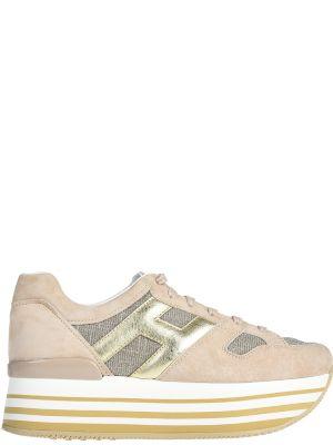 Кожаные кроссовки - бежевые Hogan
