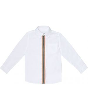 Хлопковая белая рубашка стрейч Burberry Kids