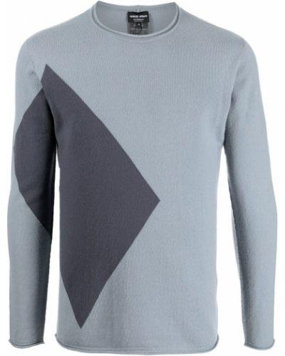 Niebieska bluza z printem Giorgio Armani