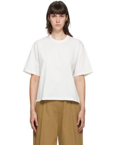 Хлопковая с рукавами белая рубашка с коротким рукавом с воротником Studio Nicholson