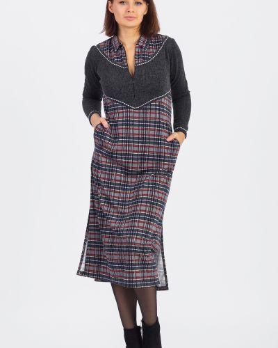 Деловое платье серое с разрезами по бокам Lacywear