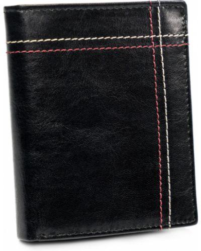 Czarny portfel na monety z prawdziwej skóry bez zapięcia Always Wild