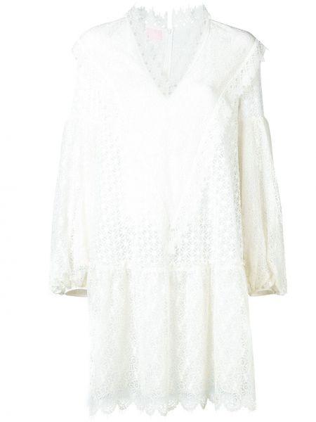 Хлопковое белое расклешенное платье на молнии Giamba