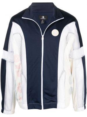 Niebieska długa kurtka z długimi rękawami z printem Telfar