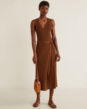 Платье с поясом сафари с V-образным вырезом Mango