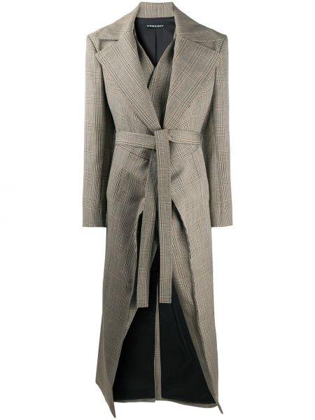 Шерстяное вязаное длинное пальто в клетку Y/project