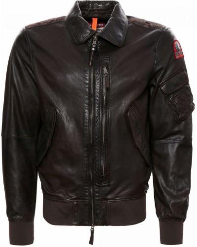 Коричневая кожаная куртка Parajumpers