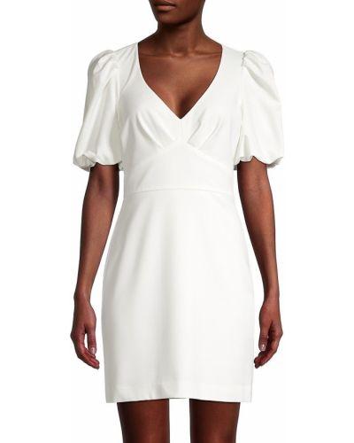 Бежевое платье мини классическое с V-образным вырезом Parker