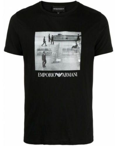 Czarna podkoszulka bawełniana z printem Emporio Armani