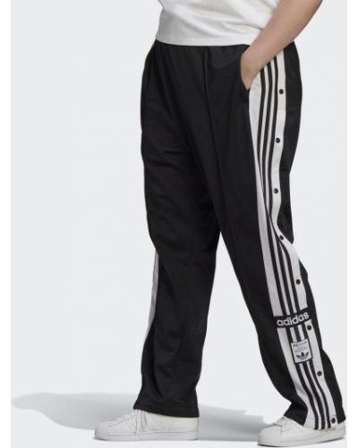 Спортивные брюки на кнопках - черные Adidas