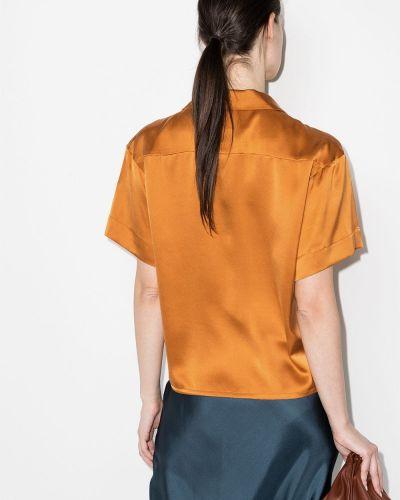 Шелковая рубашка с короткими рукавами с воротником Asceno