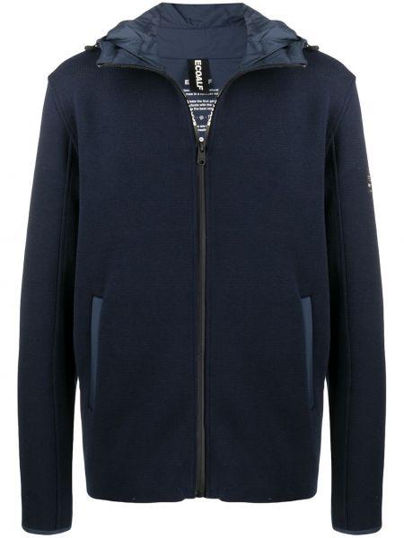 Хлопковая классическая синяя куртка с капюшоном на молнии Ecoalf
