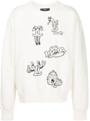 Biała bluza z nadrukiem z printem Domrebel