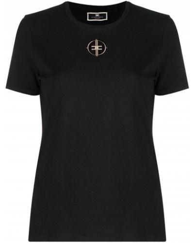 С рукавами черная футболка с вырезом Elisabetta Franchi