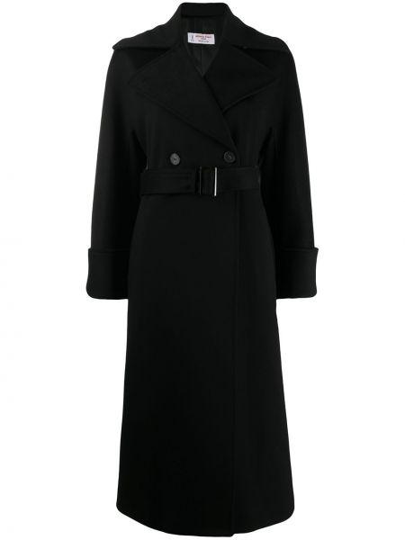 Черное однобортное шерстяное длинное пальто с карманами Alberto Biani