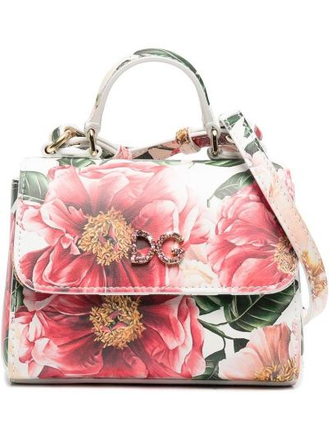 Золотистая белая кожаная сумка на плечо Dolce & Gabbana Kids