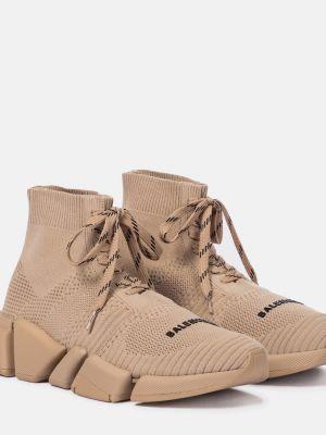 Кружевные бежевые кроссовки на шнурках Balenciaga