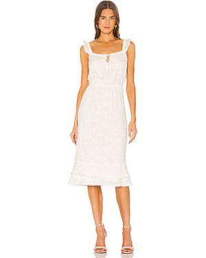 Кашемировое белое платье миди с декольте на резинке Cupcakes And Cashmere